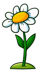 Funny and cute yellow white flower with leaves - vector