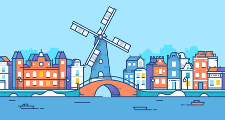 Banner of Amsterdam city in flat line trendy style. Amsterdam city line art. European city. Old town. The city of mill 2