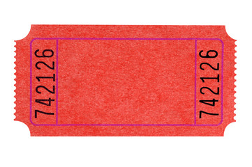 Blank red theater ticket isolated on white