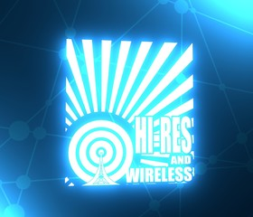 Wi Fi Network Symbol . Mobile gadgets technology relative  image. Hi res and wireless text on sun rays background. 3D rendering