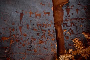 Sandstone covered in petroglyphs in southern utah