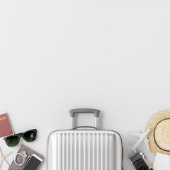 Wall Mural - Suitcase with traveler accessories on white background. travel concept. 3d rendering