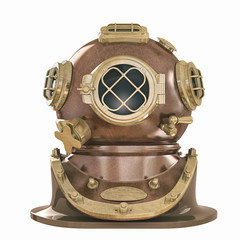Old fashioned diving helmet isolated on white 04 WW2  USA 3d illustration