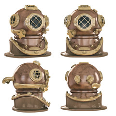 Old fashioned diving helmet from different angles isolated on white WW2  USA 3d illustration