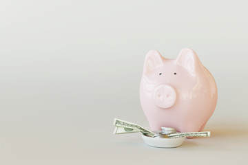 Pink piggy bank with coins and dollar banknotes on white bright background. 3d rendering