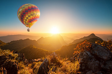 Poster Ballon Sunset at doi luang chiang dao with hot air balloon in chiang mai province thailand