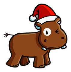 Funny and cute brown hippo smiling and wearing Santa's hat for christmas - vector