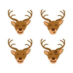 Deer emoticon or emoji set in children book style illustration