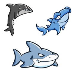 Funny and scary shark swimming set - vector.