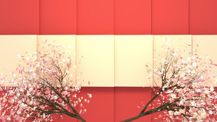 Wall Mural - Oriental cherry blossom background. 3d rendering picture.