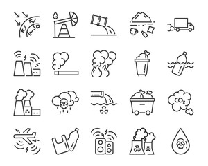 set of pollution icons, such as, global warming, smoke, pastic bags, waste, sound pollution