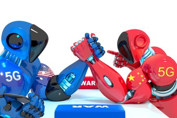 USA and China trade war, The race to 5G, Robot War, arm wrestling - 3D illustration