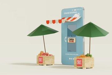 Shopping Online Mobile Phone - 3d render illustrator