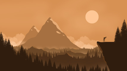 Beautiful landscape 2D illustration. Monochromatic Landscape with deep valleys, sunrise, sunset and a girl enjoying music of nature on the edge.