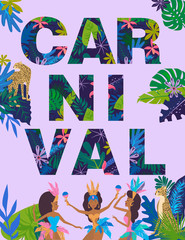 Mardi Gras Carnival poster template with Brazilian samba dancer. Carnival in Rio de Janeiro with girls wearing a festival costume. Editable vector illustration