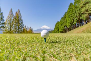 ゴルフボールと富士山