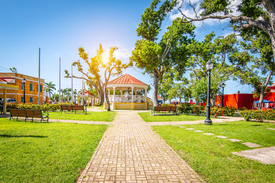 Beautiful town park close to the port of Frederiksted in St Croix, US Virgin Islands.