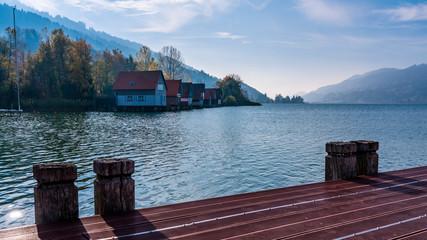 Bootshäuser, Großer Alpsee, Immenstadt, Kreis Oberallgäu, Bayern, Deutschland