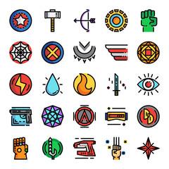superhero pixel perfect color line icons