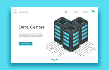 Wall Mural - Data center landing page. Isometric servers vector design