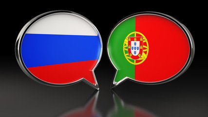 Russia and Portugal flags with Speech Bubbles. 3D illustration