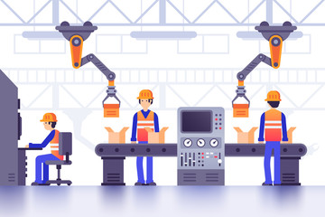 Smart manufacture factory conveyor. Modern industrial manufacturing, computer controlled factory machines line vector illustration