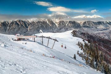 Majestic ski resort in Prahova valley, Carpathians, Azuga, Romania, Europe