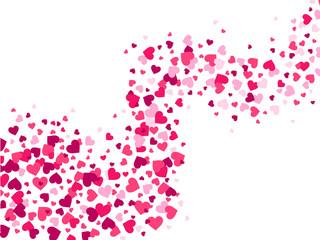 Hearts confetti wave. Love stream, scattering confetti splash flow and glamour romantic heart valentines vector background