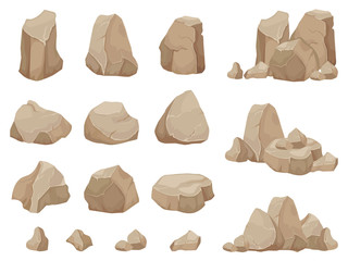 Stone rock. Stones boulder, gravel rubble and pile of rocks cartoon isolated vector set Fotoväggar