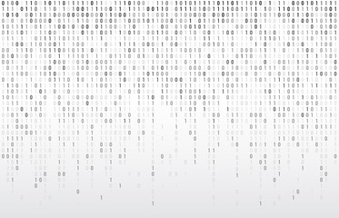 Digital binary code. Computer matrix data falling numbers, coding typography and codes stream gray vector background illustration