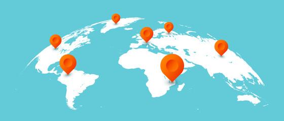 Fototapeta World travel map. Pins on global earth maps, worldwide business communication isolated concept illustration obraz