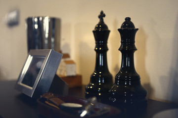 decorated objects in chess shape