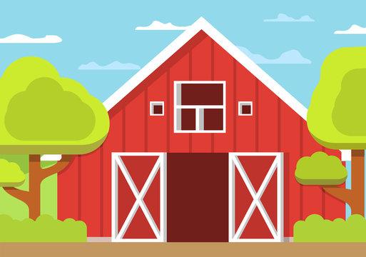 Rural landscape farm. Wooden barn open gate. Flat vector. Concept of design of a poster.