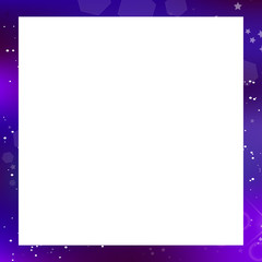 galaxy square photo frame on white background with copy space.