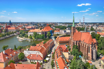 Aerial cityscape of Wroclaw with Cathedral of St. John the Baptist and Oder river, Poland Wall mural