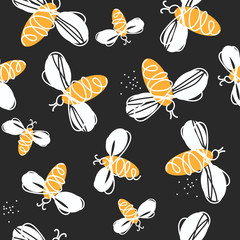 Door stickers Bestsellers Kids Bees, hand drawn seamless pattern. Colorful backdrop with insects. Decorative colored wallpaper, good for printing. Hand drawn overlapping background, beekeeping. Design illustration vector