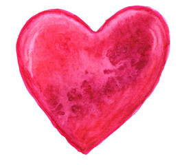 Red heart in watercolor