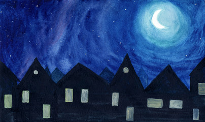 Night in small town against stars and moon in watercolor.
