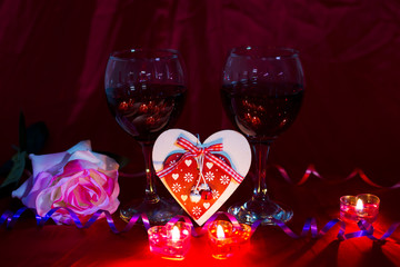 Photos in honor of the holiday of Valentine's Day   Footage shot at home ,Russia date: 5.01.2019 year, pictured hearts, background, Valentines