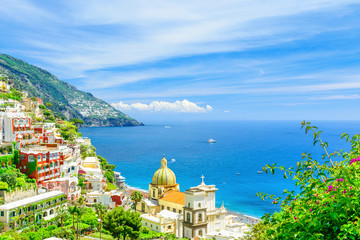Tuinposter Kust beautiful view of Positano town on Amalfi coast , Campania, Italy
