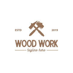vintage carpentry and mechanic labels, emblems and logo design inspiration