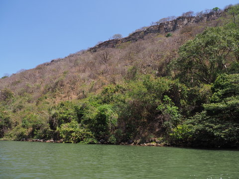 Scenic slope of Sumidero canyon at Grijalva river landscape in Chiapas state in Mexico