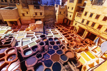 Tanneries of Fes Morocco, Africa Old tanks of the Fez's tanneries with color paint for leather