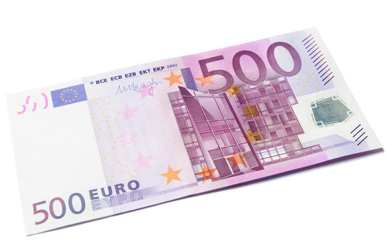 500 euro money banknote isolated on white, european union currency bill close-up