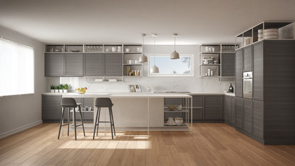 Obraz Modern white and gray kitchen with wooden details and parquet floor, modern pendant lamps, minimalistic interior design concept idea, island with stools and accessories - fototapety do salonu