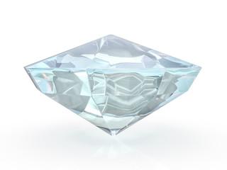 Dazzling diamond on white background. 3D
