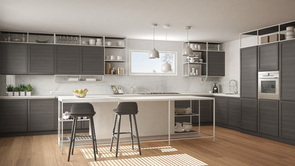 Modern white and gray kitchen with wooden details and parquet floor, modern pendant lamps, minimalistic interior design concept idea, island with stools and accessories
