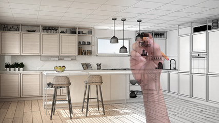 Hand drawing custom modern minimalist white and wooden kitchen with island and stools. Tailored unfinished project architecture interior design, architect designer concept idea