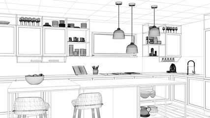 Interior design project, black and white ink sketch, architecture blueprint showing modern kitchen, island with stools and accessories, contemporary architecture