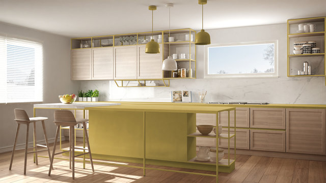 Modern white and yellow kitchen with wooden details and parquet floor, modern pendant lamps, minimalistic interior design concept idea, island with stools and accessories
